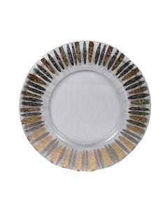 Gold Pewter Drops Glass Passing Plate SALE ONLY
