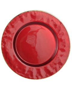 Deep Red with Gold Rim Splendor Passing Plate SALE ONLY